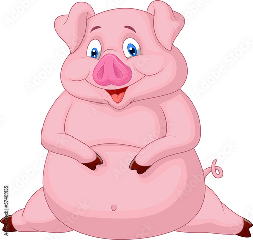 Fat pig cartoon