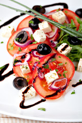 Greek vegetable salad with feta cheese