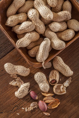 .peanuts on the wooden table