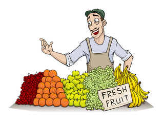 Man selling various fruit
