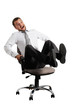 merry businessman rolling on the office chair