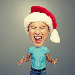 angry screaming girl in santa hat