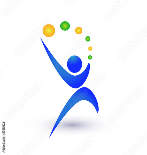 Person in motion with balls logo vector