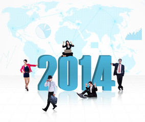 Business people with the new year 2014