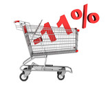 shopping cart with 11 percent discount isolated on white backgro