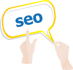 hands holding cloud with SEO, search engine optimization