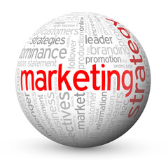 """MARKETING STRATEGY"" Tag Cloud Globe (advertising e-marketing)"