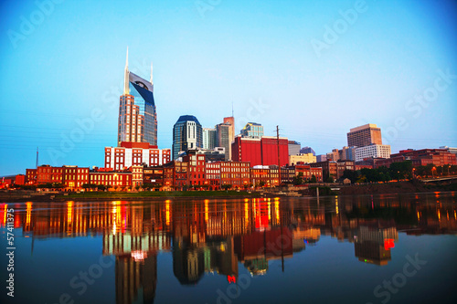 Downtown Nashville cityscape in the morning