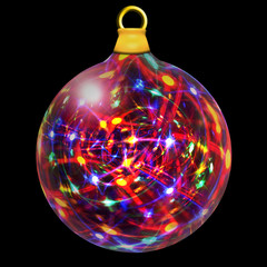 Christmas Bauble filled with multicolored lights