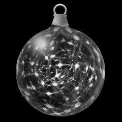 Christmas Bauble filled with flashing white lights