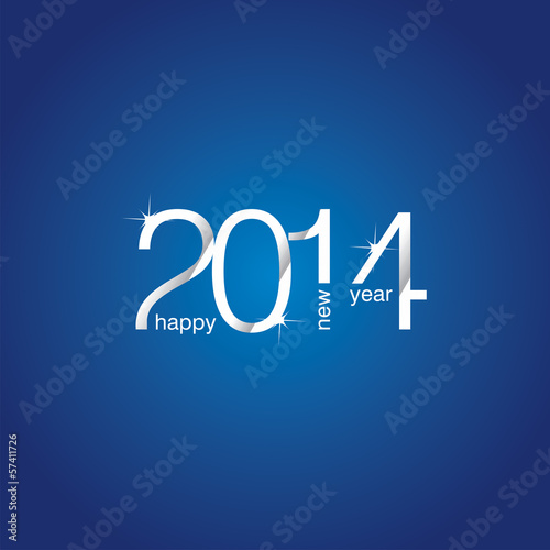 Happy New Year 2014 blue background vector