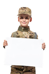Young soldier holding a poster