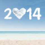 Fototapety Heart shaped cloud of new year 2014