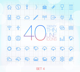 40 Trendy Thin Icons for web and mobile Set 4