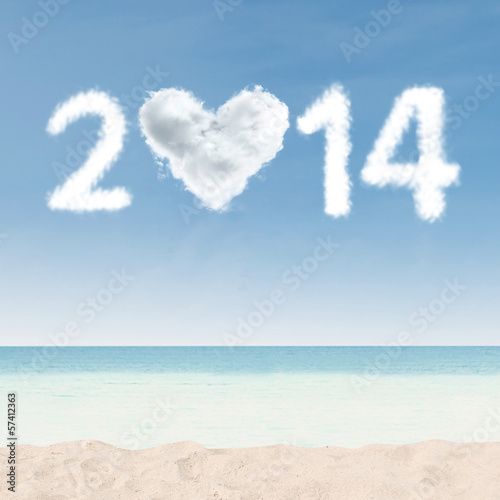 Heart shaped cloud of new year 2014
