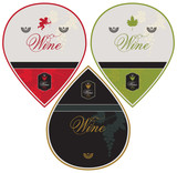 labels for sparkling, red and white wine with grapes and Cupid
