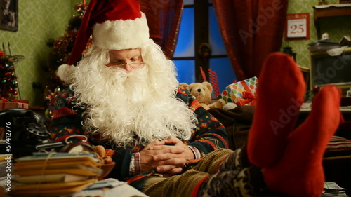 Santa Claus sleeping on Christmas day