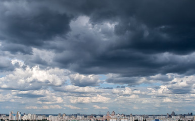 Dramatic afternoon cloudscape before rain