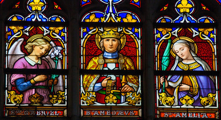 Stained glass window in Brussels cathedral