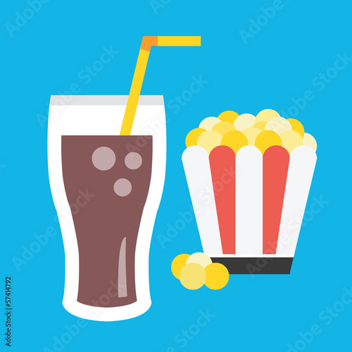 Vector Lemonade and Popcorn Icon - 57414792