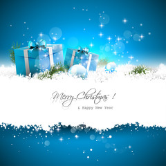 Christmas greeting card with gift boxes and branches in snow