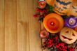 Composition for Halloween with on wooden table close-up