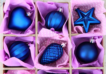 Beautiful packaged Christmas toys, close up