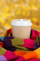 Hot drink in paper cup with color scarf on bright background