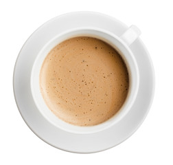 cup of coffee with foam isolated on white, all in focus, top vie