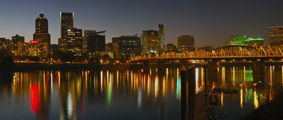 Portland Oregon skyline panorama at night.