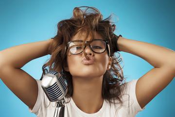 Beauty Glamour Singer Girl. Rock n roll Style. Song. Karaoke
