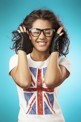 beautiful girl in a t-shirt. English flag. Close up portrait