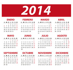 Calendario año 2014 en español y días festivos de España