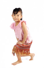 asian little girl doing a curtsy in thai style
