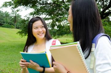 Asian students having conversation