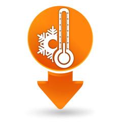 thermomètre froid sur signet orange