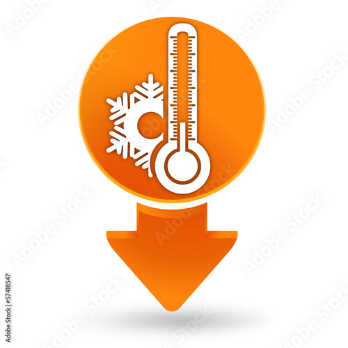 thermomètre froid sur signet orange