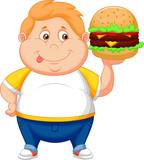 Fototapety fat boy smiling and ready to eat a big hamburger