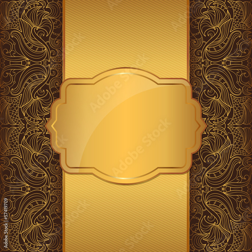 Luxury gold frame on a brown background with a vintage pattern
