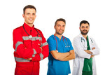 Cheerful team of different doctors