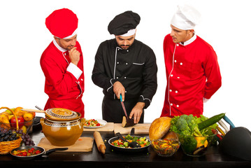 Teacher chef with students
