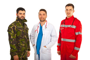 Soldier,doctor and paramedic