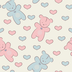 Seamless pattern with teddy bears and hearts. © Marina Demidova