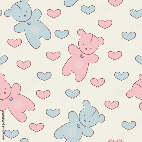 Seamless pattern with teddy bears and hearts.