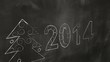 drawing 2014 new year greetings on blackboard