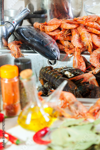 Heap of fresh uncooked sea food specialties