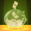 Glass piggy bank. Vector illustration.
