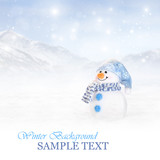 Winter background with a cute snowman