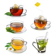 Tea collage with glass cups of tea