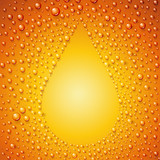 Beer with condensed water pearls.